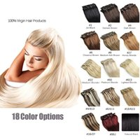 clip in human hair extensions 160g - 7A quot quot Unprocessed Brazilian remy Hair straight clip in hair remy human hair extensions colors for choose g set