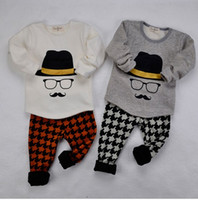 Wholesale Autumn Winter Children Boys Girls Cute Mustache Set Kids Clothing Long Sleeve Tops Swallow Gird Pants Outfits Kid Casual Sets I2094