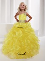dress one size - Charming One Shoulder Girls Pageant Dress Yellow Sashes Beading Crystals Ball Gown Flouncing Ruffles Flower Girl Dresses L030532