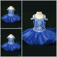 Wholesale Fashion ball gown Cap Sleeves Mini Short Beaded Organza Beads Sequins Pageant Dresses for kids Newest Royal Blue Flower Girl Dress