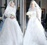 Cheap Nicky hilton Valentino Wedding-dress 2015 Long Sleeve High Neck Zipper Back Appliques Sheer Ball Gown Organza Bridal Gowns