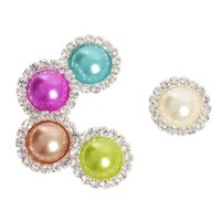 Wholesale Hot Sale10pcs Round Metal Rhinestone Diamond Buckle Pearl Button Wedding Embellishment Scrapbooking Flower Center colors