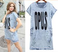 Moda vestidos de verano mini falda de Jean Conciso Design Plus Tamaño Jean Camisa Con Hole OPUS Letter Vestidos