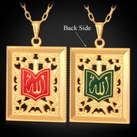 Men's islamic necklace - Two Sides Holy Islamic Allah Big Pendant Charm K Real Gold Plated Choker Necklace Muslim Jewelry
