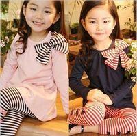 t shirts manufacturer - 2015 Garden Set Muebles De Jardin Muebles Jardin Han Edition Girls Set Stripe Bow Long Suit t shirt Pants Manufacturers Selling