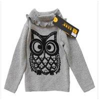 Wholesale 40pcs LJJC2255 Hot Sale Kids Baby Girls Knit Owl Printed Sweaters Kids Autumn Cartoon Jumper Top Outwears Kids Cute Pullover Sweaters
