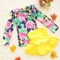 Cheap High Quality kids Swimwear fashion printing long sleeve big girls beach bathing suit short skirt two-piece children swimsuit 3-11age ab890