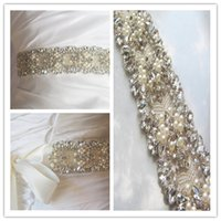 crystal belts - 2015 Beautiful Hot Selling Cheap Sexy Belly Belt Waist Crystals Pears Rhinestone Beads Bow Belt Bridal Sashes Wedding Dress Sashes Belts