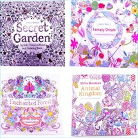Wholesale Adult Coloring Books Designs Secret Garden Animal Kingdom Fantasy Dream and Enchanted Forest Pages Kids Adult Painting Books