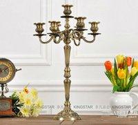 candelabra wedding - H54 cm light branch bronze floral metal candelabra candelabrum candle holder candlestick wedding home decoration