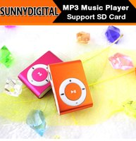 Wholesale Newest Mini No screen Clip Mp3 player Metal style Support Micro SD card gb with earphone USB cables Colorful with Crystal box