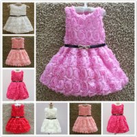 Wholesale New Fashion Girls Party Princess Dress Sleeveless Rose Floral Tiered Kid Gown Bowknot Black Sash Party Ball Flower Girls Dress