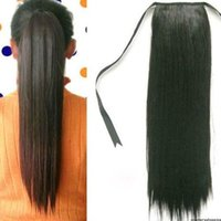 Wholesale 2015 New Women Girls Synthetic Clip In Hair Long Straight Ponytail Hair Extensions Party wigs