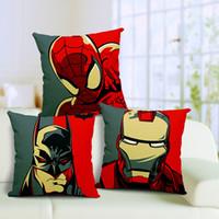 Wholesale Batman pillow cover iron man pillow spiderman pillow Avengers Justice League superhero cotton linen throw pillow cushion cover