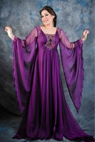Cheap Elegant Plus Size Arabic Kaftan Evening Dresses Dark Purple Dubai Fashion Empire Beaded Long Sleeves Chiffon Abayas Women Formal Gowns