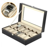 Wholesale 12 Slots Leather Watches Box Display Glass Top Jewelry Jewelry Case