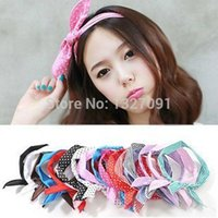 band fingerless gloves - x Hair Band Rabbit Ear Ribbon Headband Scarf CLSK