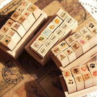 art postcards - Lovely MINI DIY Wood Stamp Sketch Photo Postcard Decoration Scrapbooking Art Logo Stamps Wood Box Pack SK766