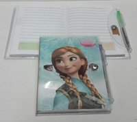Wholesale Hot Fr z n Book Notebook with a Pen Student Diary Elsa Anna Book Student Notepad CM pages Freeshipping