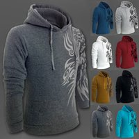 plus size dropship - Fall New Fashion Men s Dragon Print Pullover Hooded Jacket Sports Fitness Men s Fashion Tatoo Printing Coat Dropship Plus Size