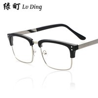 Wholesale 2015 classic retro half frame plain mirror wild double m nail glasses frame glasses influx of students b002