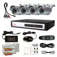 Cheap KARE 4 CCTV 600TVL High Resolution Indoor Outdoor Waterproof Surveillance Security Cameras CCD 4CH DVR System 500GB Silver