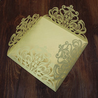 Wholesale Golden official party invitation cards with golden inner sheet flower hollow shaped cost effective peal paper invitations