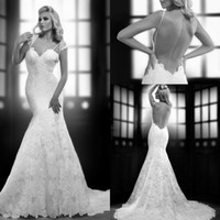 Cheap 2015 Fashion New Sexy Spaghetti Strap With Mini Wrap Jacket Open Back Bridal Gowns Lace Mermaid Backless 2015 Wedding Dresses