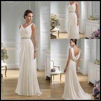 apple gardens - Graceful Sheath V neck Greek Lace Floor Length Chiffon Summer Wedding Dresses Beaded Bridal Gowns Flirting Open Back Style Dress