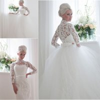 Sheath/Column Reference Images 2015 Spring Summer Vintage Inspired Full Lace Column Wedding Dresses with Long Sleeves High Neck Bridal Gowns with Detachable Train  Skirt Princess Ball Gowns