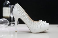 Wholesale Crystal Wedding Shoes Pearl Bride Shoes For Wedding Banquet High heeled Pumps Beautiful Lady Party Dress Shoes