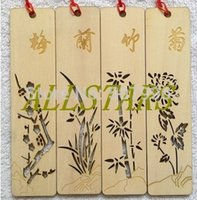Wholesale New brand stationery aesthetic vintage hollow out plum chrysanthemum bamboo orchid wood bookmark h
