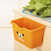 bear trash cans - Cabinet door hang kitchen toilet desktop multi functional plastic storage boxes trash can rubbish bin ovely bear easily
