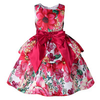 big red boat - Pettigirl Retail Latest Girls Red Dresses Printed With Flowers Big Bow Sash Back With Zipper Kids Tiered Wear Baby Clothes GD81007 Z