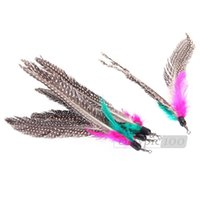 Wholesale 5 Funny Colorful Feather for Cat Kitten Replacement Toy For Wand Teaser Pole