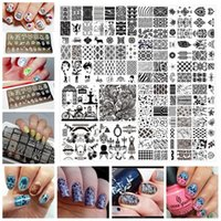 Wholesale 6 cm Stainless Steel Nail Art Stamping Plates Geometric patterns Monroe Madonna Sports Nails Template Stamp JH124