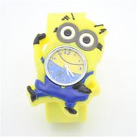 Precio de Gifts-2015 Despicable Me Slap Watch Grandes dibujos animados 3D Eyes minion amarillo preciosos regalos Leche papá niños embroman Slap Watch Reloj de pulsera