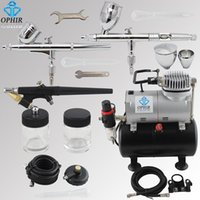 air brush tanning - OPHIR Airbrush Set Air Brush Compressor Kit with Tank for Car Paint Tanning Hobby Tattoo Cake Decorating _AC090 A