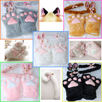 claw gloves - 5 Colors Set Cat Ears Plush Paw Claw Gloves Tail Ribbon Anime Cosplay Costumes