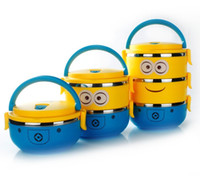 Wholesale 3 Layers Cute Cartoon Minion Lunch Box for Kids Tiffin Boxes Dinnerware Set Stainless Steel Thermal Nento for School Students