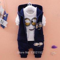 Wholesale Newest Autumn Baby Girls Boys Minion Suits Infant Newborn Clothes Sets Kids Vest T Shirt Pants Sets Children Suits