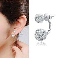 Wholesale fashion Jewelry Shamballa Earrings Silver Crystal Disco Ball Shamballa Stud Earrings