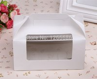 cheese cutter - 100pcs white paper cupcake cups muffin cheese cake box portable handle boxes