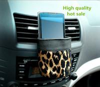Moda leopardo balde luva caixa de armazenamento saco titular saída de ar do carro de impressão auto veículo detritos carro balde balde carro carro luva frete grátis