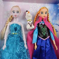 Wholesale Frozen Doll set Elsa Anna Olaf Cartoon Cute Beauty toys action figures plush Kids Girl Children toy Princess dolls Christmas Gifts