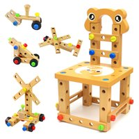 wooden chair - Kids educational learning wooden tool toys DIY Assembled building block chair
