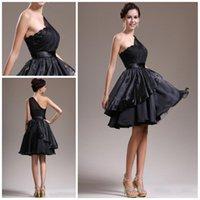 Negro un hombro vestido de dama de honor sin mangas Organza volantes Sash Mini / corto satinado vestido de fiesta de alta calidad HY 084