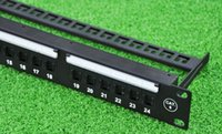 Wholesale LINKWAY quot ports Cat patch panel front panel with label field RJ45 sockets with shutter metal cable management bar