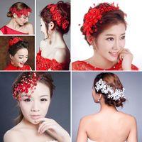 beaded hair supplies - Red Petail Flowers Bridal Tiaras Hair Accessories Wedding Supplies Beaded Elegant Fascinators Head Wear Pieces Headband WWL