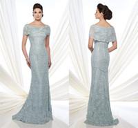 Wholesale 2016 Bateau Illusion Short Sleeve Lace Mother Of The Bride Dresses Appliques Elegant Cheap Evening Gowns Pleats Mermaid Formals Prom Dress